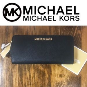 Michael Kors Black Leather Zip Around Wallet